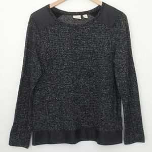 Chico's Black&Silver Knit Top w/ Faux Leather